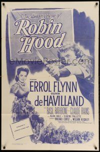 1y022 ADVENTURES OF ROBIN HOOD 1sh R56 Errol Flynn, Olivia De Havilland, adventure classic!
