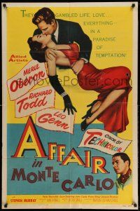 1y024 AFFAIR IN MONTE CARLO 1sh '53 sexy Merle Oberon embraced by Richard Todd!