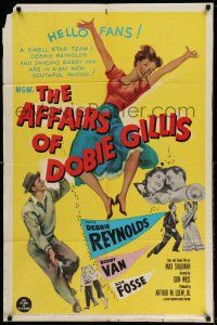 1y025 AFFAIRS OF DOBIE GILLIS 1sh '53 Bobby Van, Bob Fosse, wacky art of Debbie Reynolds!
