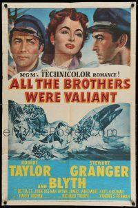 1y029 ALL THE BROTHERS WERE VALIANT 1sh '53 Robert Taylor, Stewart Granger, whaling artwork!