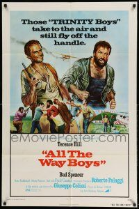 1y030 ALL THE WAY BOYS 1sh '73 wacky Terence Hill & Bud Spencer, the Trinity boys!