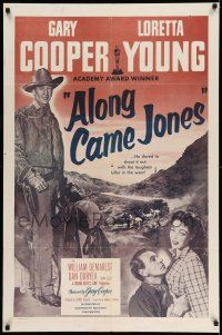 1y031 ALONG CAME JONES 1sh R53 wonderful art of Gary Cooper + holding sexy Loretta Young!