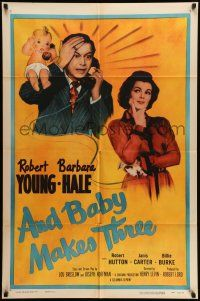 1y033 AND BABY MAKES THREE 1sh R56 Robert Young, Barbara Hale, wacky art of baby!