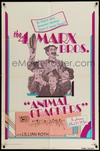 1y038 ANIMAL CRACKERS 1sh R74 wacky artwork of all four Marx Brothers!
