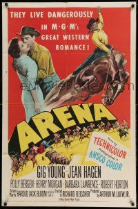 1y044 ARENA 2D 1sh '53 Gig Young, Jean Hagen, Polly Bergen, cool art from first 3-D western!