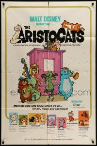 1y045 ARISTOCATS 1sh '71 Walt Disney feline jazz musical cartoon, great colorful art!