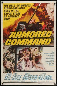 1y046 ARMORED COMMAND 1sh '61 Burt Reynolds' first movie, great art of tank on battlefield!