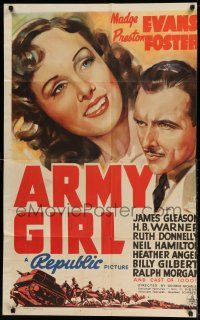 1y047 ARMY GIRL style B 1sh '38 Madge Evans in the military, awesome art of tanks charging w/horses!