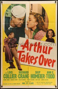 1y048 ARTHUR TAKES OVER 1sh '48 Lois Collier & Richard Crane have to hide their marriage!