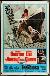 1y049 ASSAULT ON A QUEEN 1sh '66 art of Frank Sinatra & sexy Virna Lisi on submarine deck!