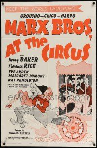 1y051 AT THE CIRCUS 1sh R62 Marx Brothers, Groucho, Chico & Harpo, Al Hirschfeld art!