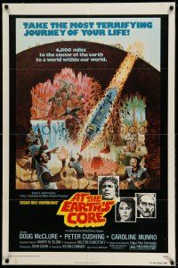 1y052 AT THE EARTH'S CORE 1sh '76 Edgar Rice Burroughs, Caroline Munro, Peter Cushing, AIP!