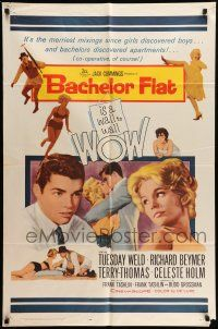 1y055 BACHELOR FLAT 1sh '62 Tuesday Weld & Richard Beymer kiss close up, a wall to wall wow!