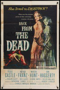 1y057 BACK FROM THE DEAD 1sh '57 Peggie Castle lived to destroy, cool sexy horror art & image!
