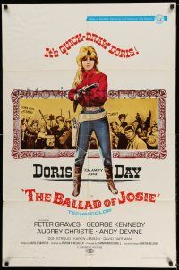 1y061 BALLAD OF JOSIE 1sh '68 cool full-length art of quick-draw Doris Day pointing shotgun!