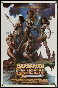 1y065 BARBARIAN QUEEN 1sh '85 sexy artwork of five near-naked female warriors by Boris Vallejo!