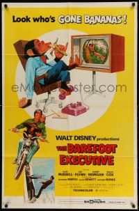 1y066 BAREFOOT EXECUTIVE 1sh '71 Disney, art of Kurt Russell & wacky chimp gone bananas!