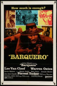 1y067 BARQUERO 1sh '70 Lee Van Cleef with gun, Warren Oates, cool artwork!