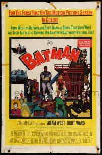 1y068 BATMAN 1sh '66 Adam West & Burt Ward w/ villains Meriwether, Romero, Meredith & Gorshin!