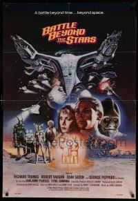 1y069 BATTLE BEYOND THE STARS 1sh '80 Richard Thomas, Robert Vaughn, Gary Meyer sci-fi art!