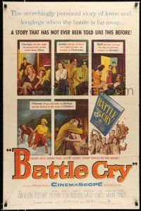 1y070 BATTLE CRY 1sh '55 Van Heflin, Tab Hunter, James Whitmore, Aldo Ray