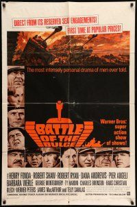 1y071 BATTLE OF THE BULGE 1sh '66 Henry Fonda, Robert Shaw, cool Thurston tank art!
