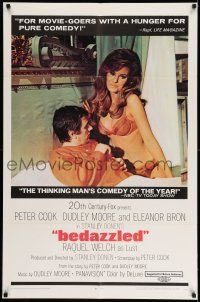 1y072 BEDAZZLED 1sh '68 classic fantasy, Dudley Moore stares at sexy Raquel Welch as Lust!