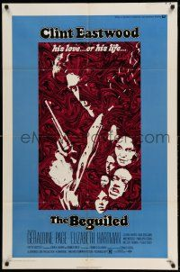 1y073 BEGUILED 1sh '71 cool psychedelic art of Clint Eastwood & Geraldine Page, Don Siegel