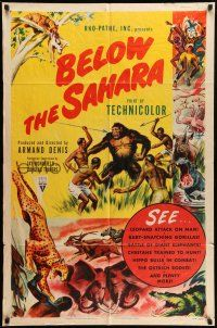 1y075 BELOW THE SAHARA 1sh '53 great giant African ape artwork stolen from Mighty Joe Young!