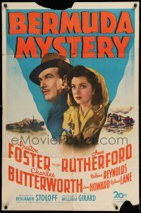 1y076 BERMUDA MYSTERY 1sh '44 cool artwork image of Preston Foster & Ann Rutherford!