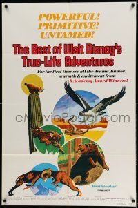 1y077 BEST OF WALT DISNEY'S TRUE-LIFE ADVENTURES 1sh '75 powerful, primitive, cool animal art!