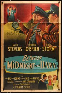 1y078 BETWEEN MIDNIGHT & DAWN 1sh '50 Gordon Douglas directed, Mark Stevens, Gale Storm!