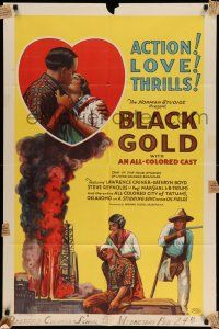 1y002 BLACK GOLD 1sh '27 stone litho, Norman Studios all-black thrilling epic of the oil fields!