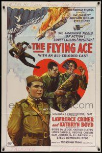 1y001 FLYING ACE 1sh '26 cool all-black aviation, the greatest airplane thriller ever produced!