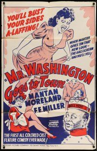 1y005 MR WASHINGTON GOES TO TOWN 1sh R40s Mantan Moreland, Toddy all-black comedy!