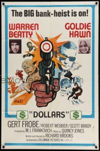 1y008 $ style D 1sh '71 bank robbers Warren Beatty & Goldie Hawn, cool art of gun!