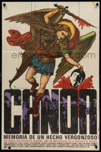 2b008 CANOA Mexican poster '76 Felipe Cazals, incredible art of angel holding severed head!