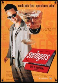 2b055 SWINGERS Aust 1sh '96 partying Vince Vaughn with giant martini, directed by Doug Liman!
