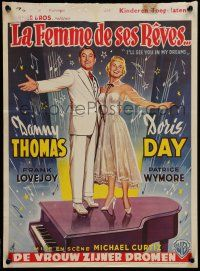 2b044 I'LL SEE YOU IN MY DREAMS Belgian '53 JA artwork of Doris Day & Danny Thomas on piano!