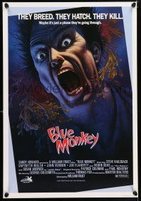 2b027 BLUE MONKEY Canadian 1sh '87 they breed, they hatch, they kill, great art by Jim Warren