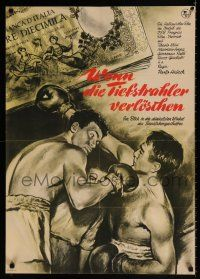 2b020 UN UOMO FACILE East German 23x32 '62 An Easy Man, great boxing artwork by Dante Manno!