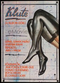 2b001 KLUTE Hungarian 22x31 '71 great completely different Andor art of Jane Fonda's sexy legs!