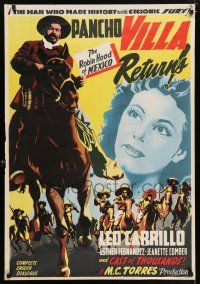 2b009 PANCHO VILLA RETURNS export Mexican poster '50 Leo Carrillo as The Robin Hood of Mexico!