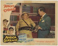 2f522 AFRICA SCREAMS LC #7 '49 Lou Costello is scared of the kitten Bud Abbott is carrying!