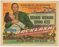 2f024 BACKLASH TC '56 Richard Widmark knew Donna Reed's lips but not her name!