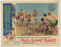 2f537 BEACH BLANKET BINGO LC #7 '65 sexy woman has all the boys after her on the beach!