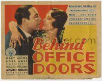 2f029 BEHIND OFFICE DOORS TC '31 best close up of Ricardo Cortez about to kiss pretty Mary Astor!