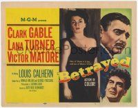 2f032 BETRAYED TC '54 art of Clark Gable, Victor Mature & sexy brunette Lana Turner!