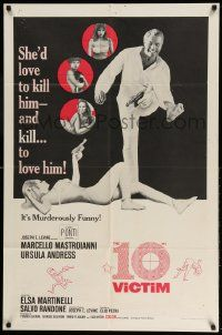 2g002 10th VICTIM 1sh '65 Marcello Mastroianni, sexy art of Ursula Andress with gun!