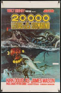 2g004 20,000 LEAGUES UNDER THE SEA Spanish/U.S. export 1sh R70s art of Jules Verne's deep sea divers!
